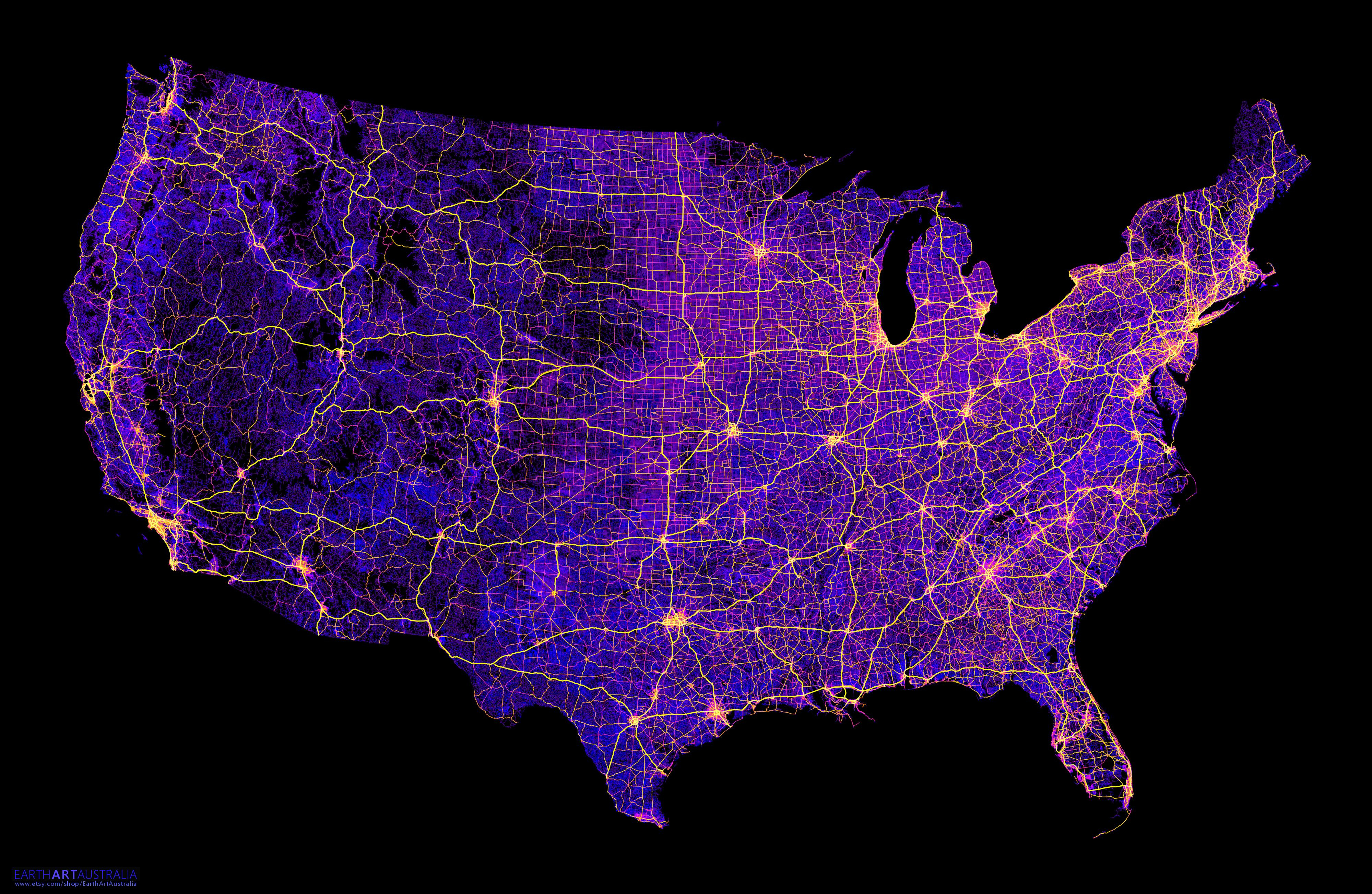 The contiguous United States mapped only by
