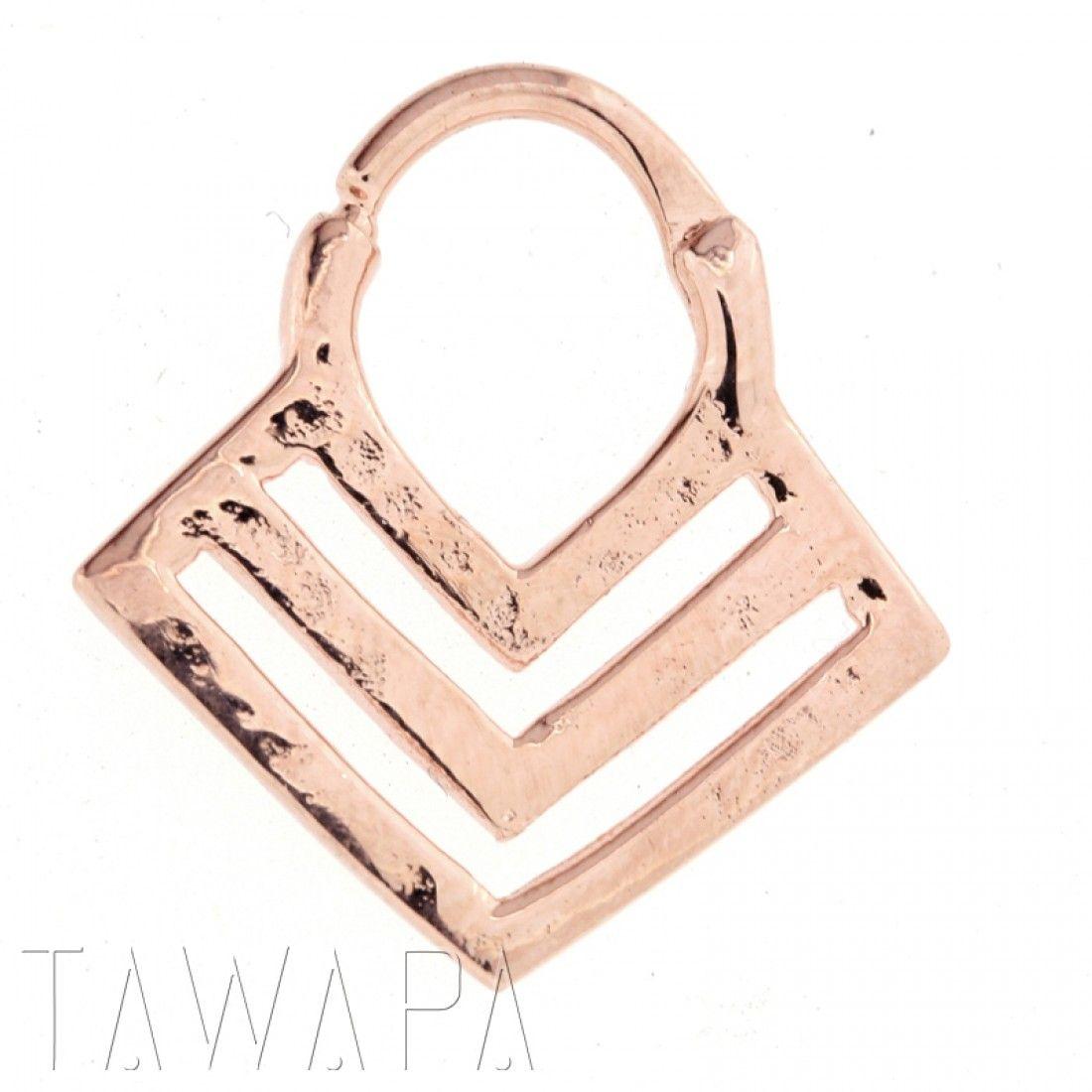 Rose Gold Plated Chevron Septum Ring Small Diameter Septum Rings