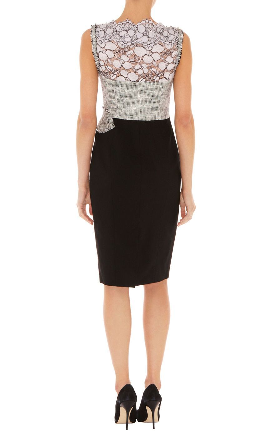 a7321c1d3e0 Karen millen Graphic Lace and Tweed Shift Dress in Gray (black multi ...