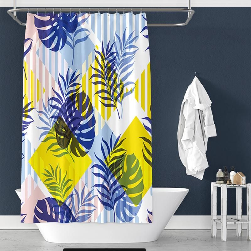 Leaf Color Block Print Shower Curtain For Bathroom Decor