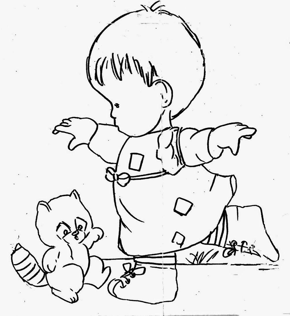 Desenho De Menina Com Esquilo Para Pintar Beb S Pintura Em  ~ Desenhos Para Colorir Cozinha