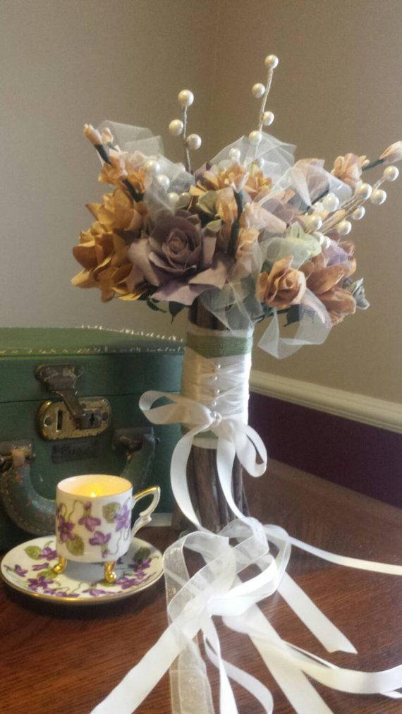 Hands painted coffee filter bridal bouquet. Neutrals with pops of ...