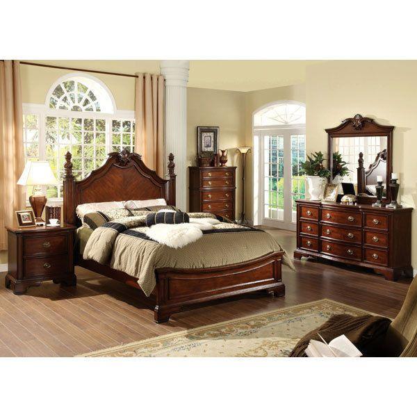 Carlsbad Ii English Style Dark Cherry Finish 6 Piece Bedroom Set