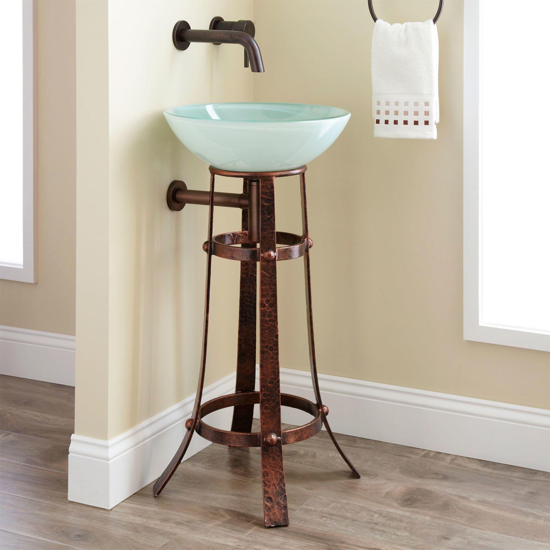 Wrought Iron Bathroom Wall Towel Shelf: Flower Vine Wrought Iron Sink Stand - Bathroom
