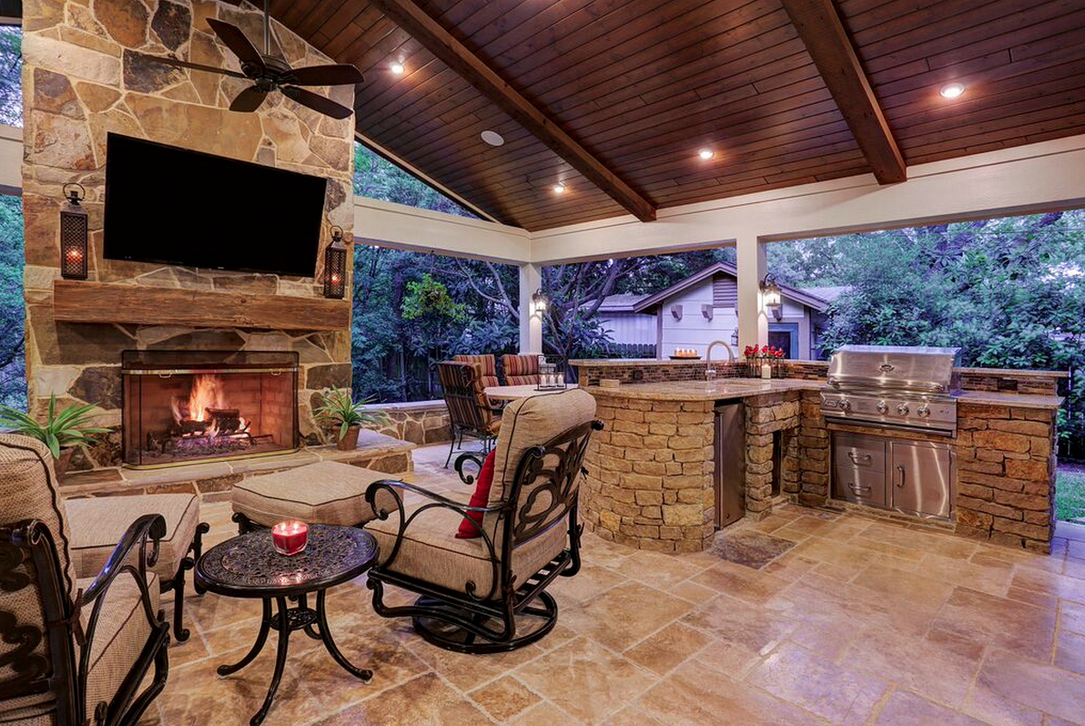 stunning outdoor living space created by texas custom patios outdoorlivingspaceimprovements on outdoor kitchen and living space id=11712