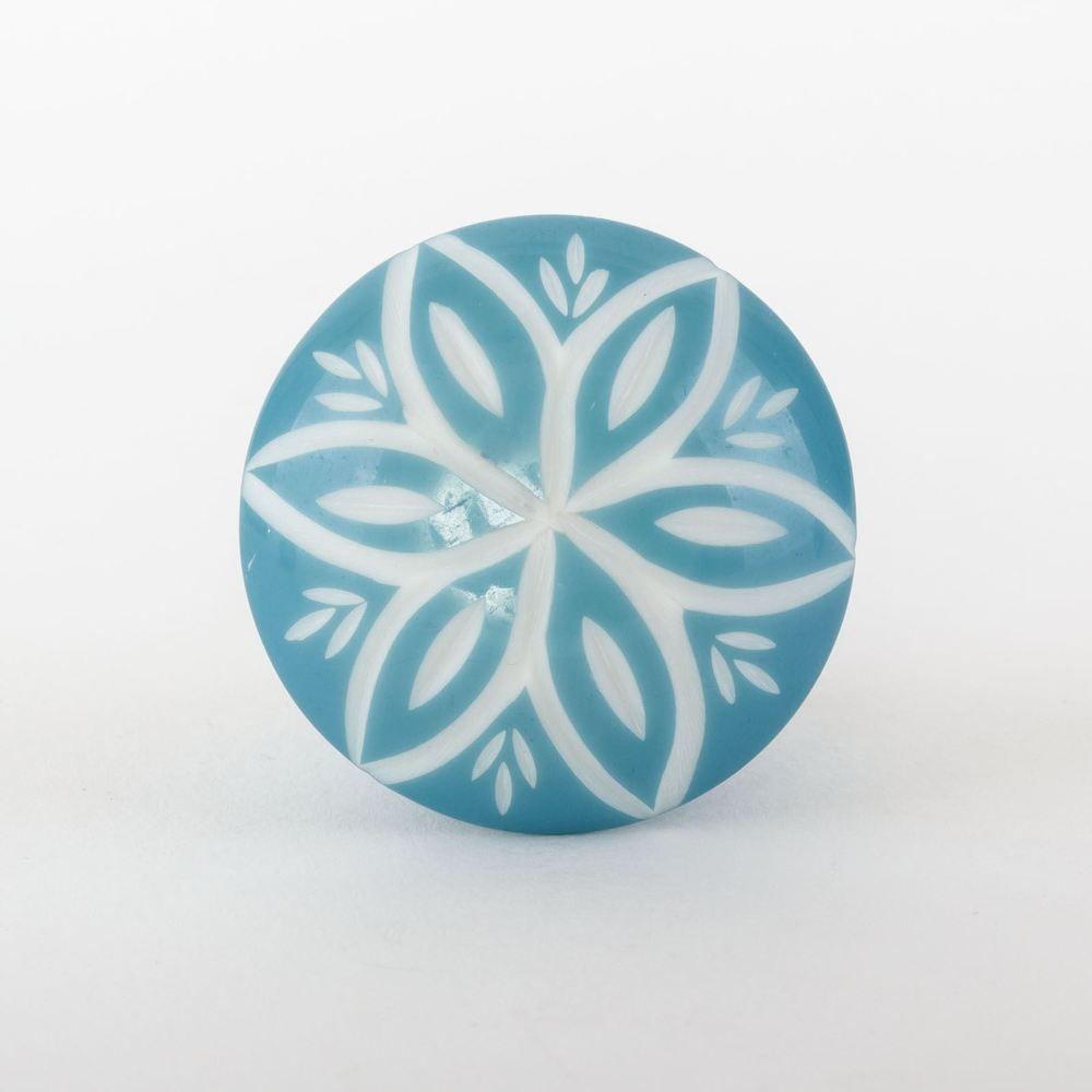 Teal floral ceramic furniture cupboard door pull knob handle shabby ...