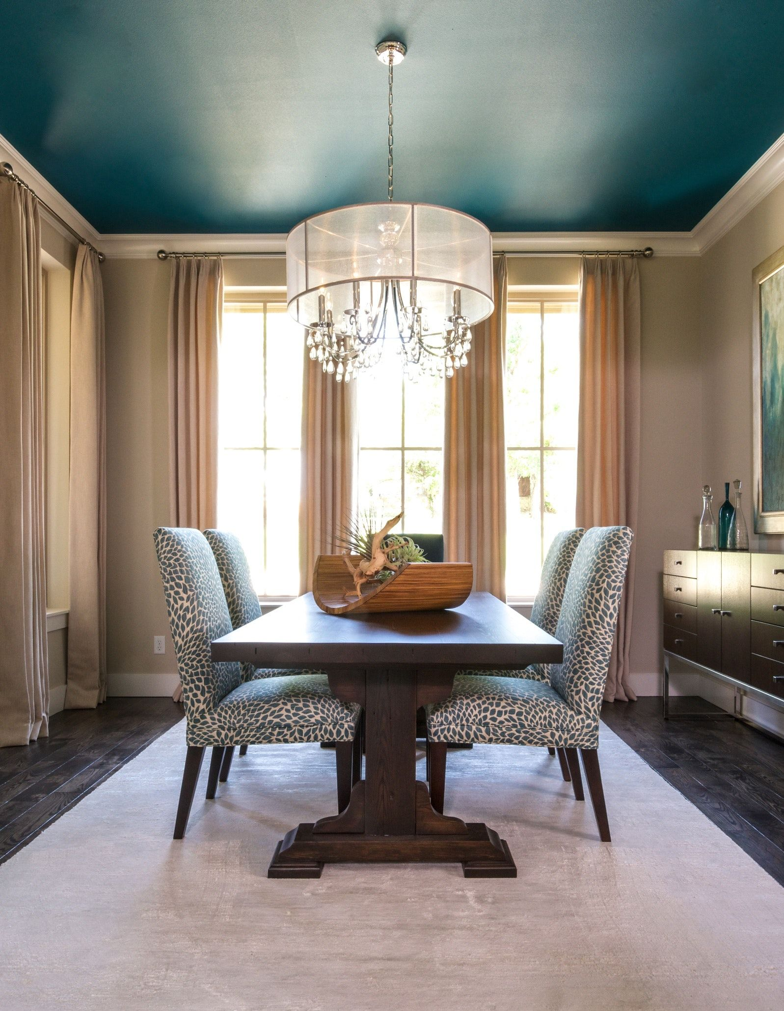 Dallas TX Dining Room Taupe walls contrast nicely with the teal