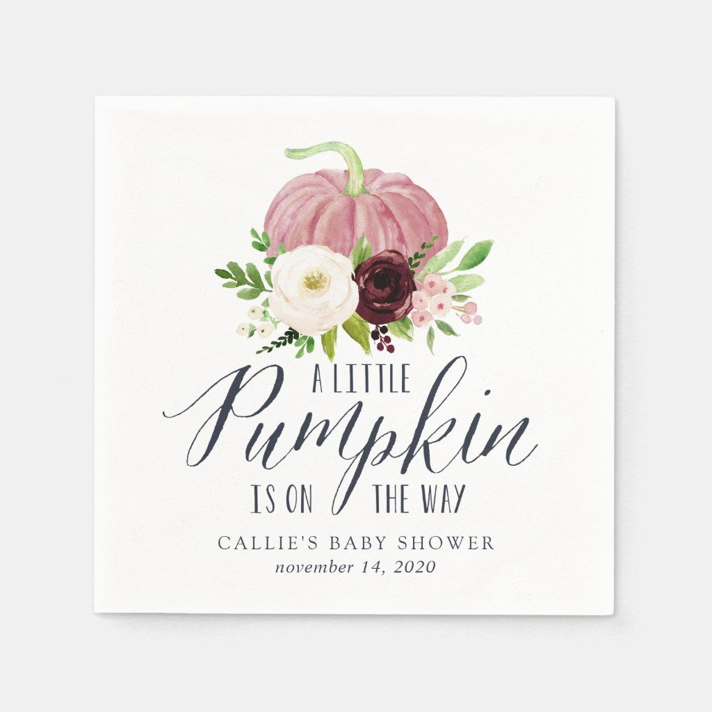 Personalized - Pink Pumpkin Autumn Baby Shower Napkin