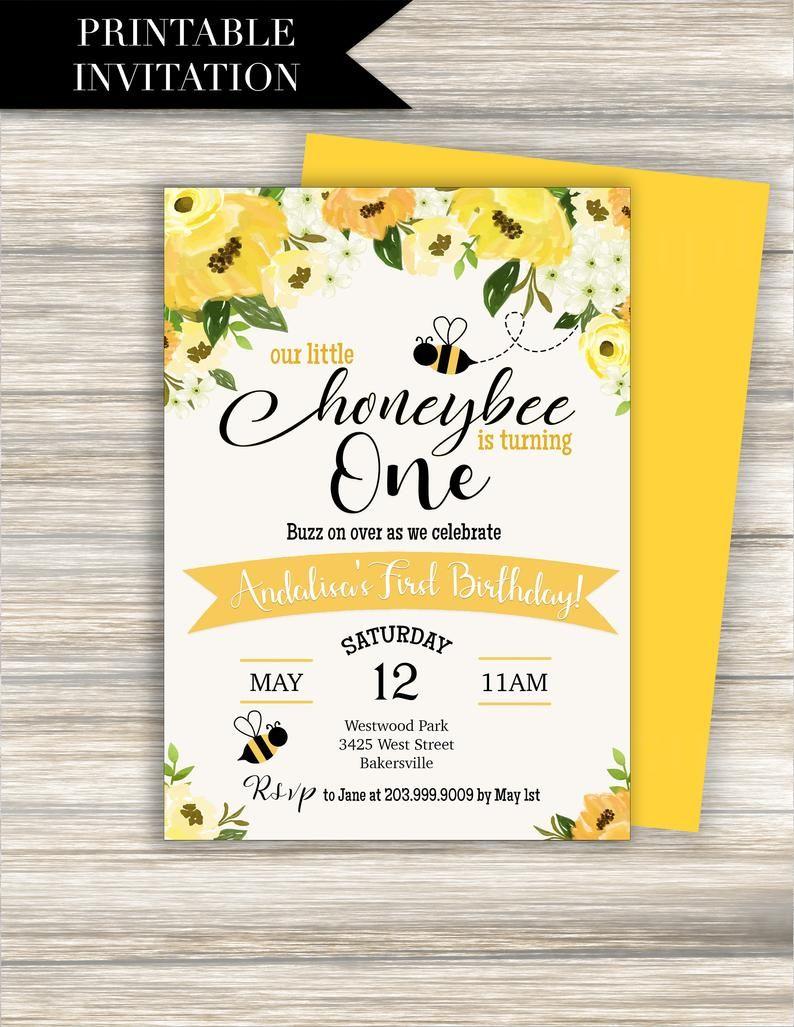 bee birthday invitation download