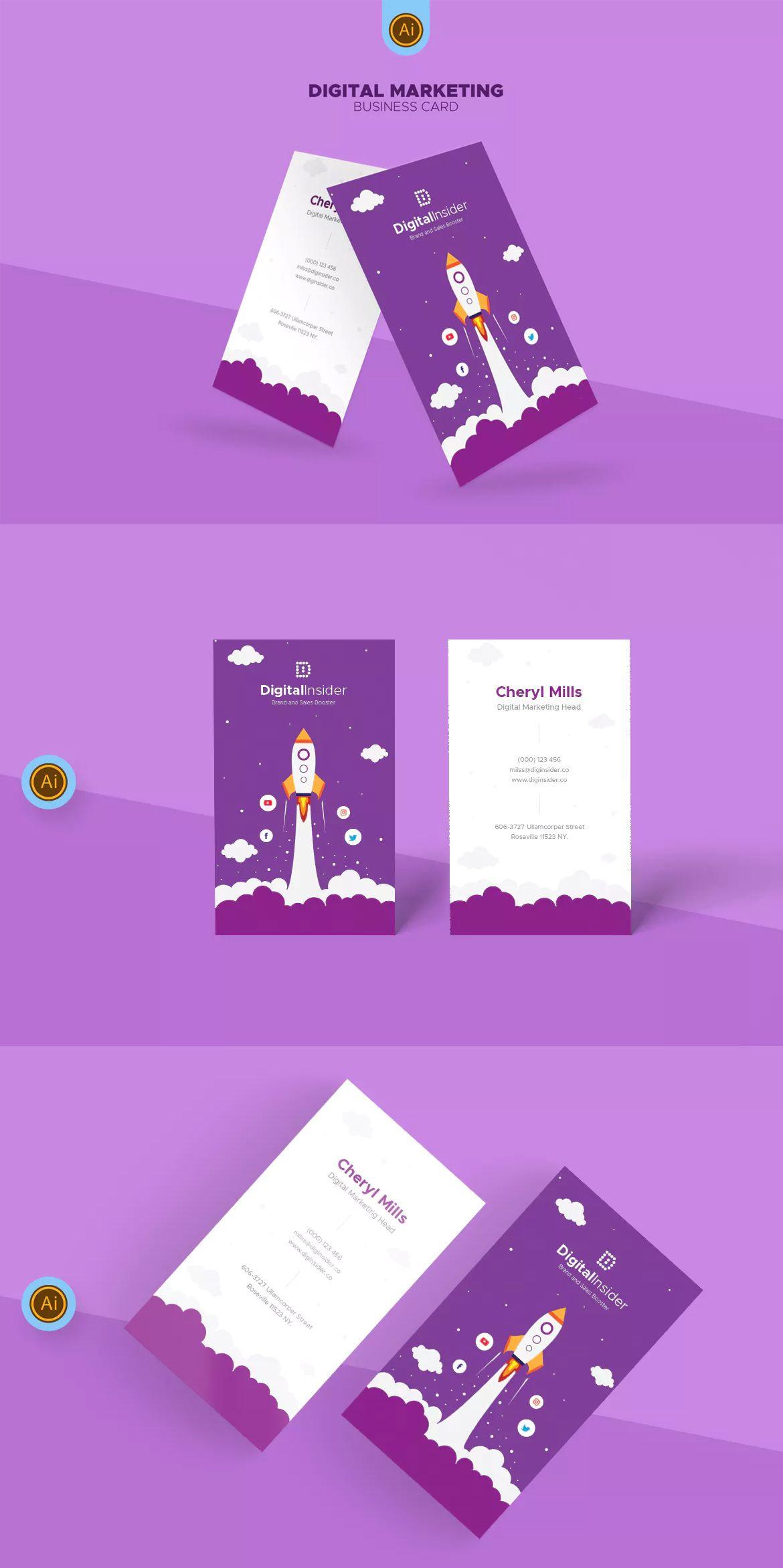 digital marketing business card template ai