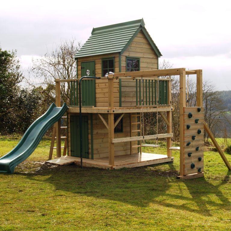 Playhouse climbing frame wooden climbing frames raised for Cheap playhouse kits