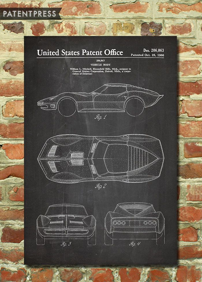 Classic corvette art poster mako shark classic car by patentpress classic corvette art poster mako shark classic car by patentpress malvernweather Images