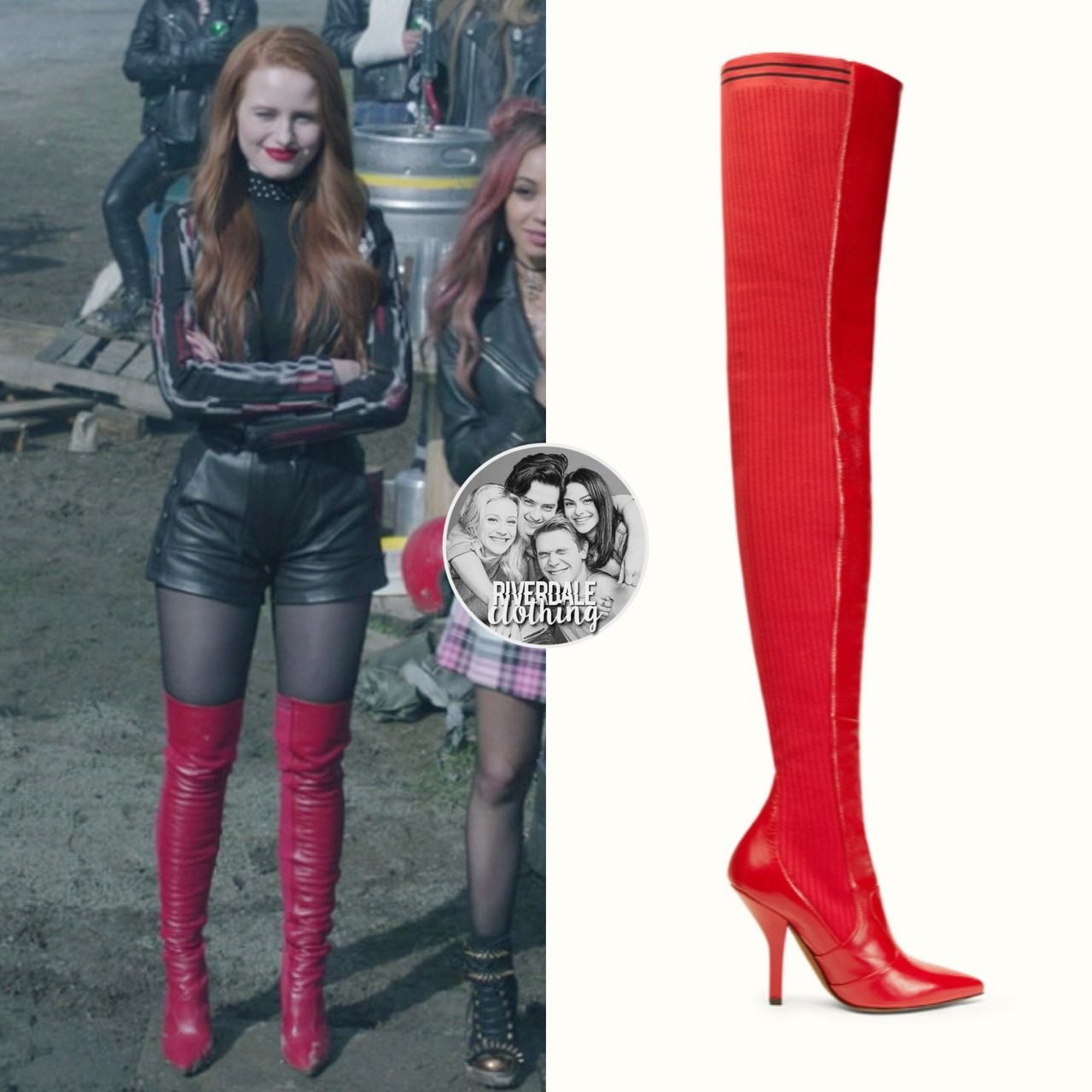 Cheryl Blossom Wears These Red Leather Fendi Cuissard Boots