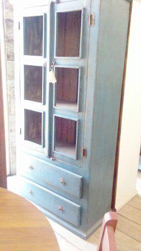 Armário cristaleira rústico em madeira de demolição pintado ...