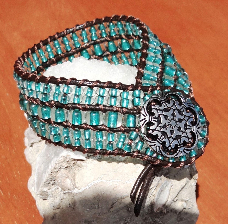 Crystal Green Metallic Leather Cuff Bracelet  by CraftingMyChaos