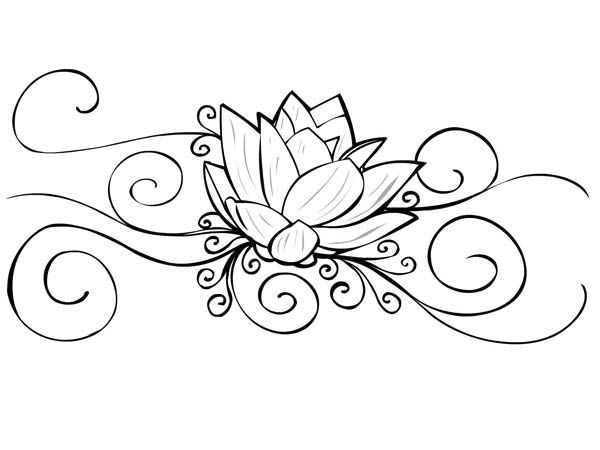 lotus flower tattoo coloring pages coloring pages - Lotus Flower Coloring Page