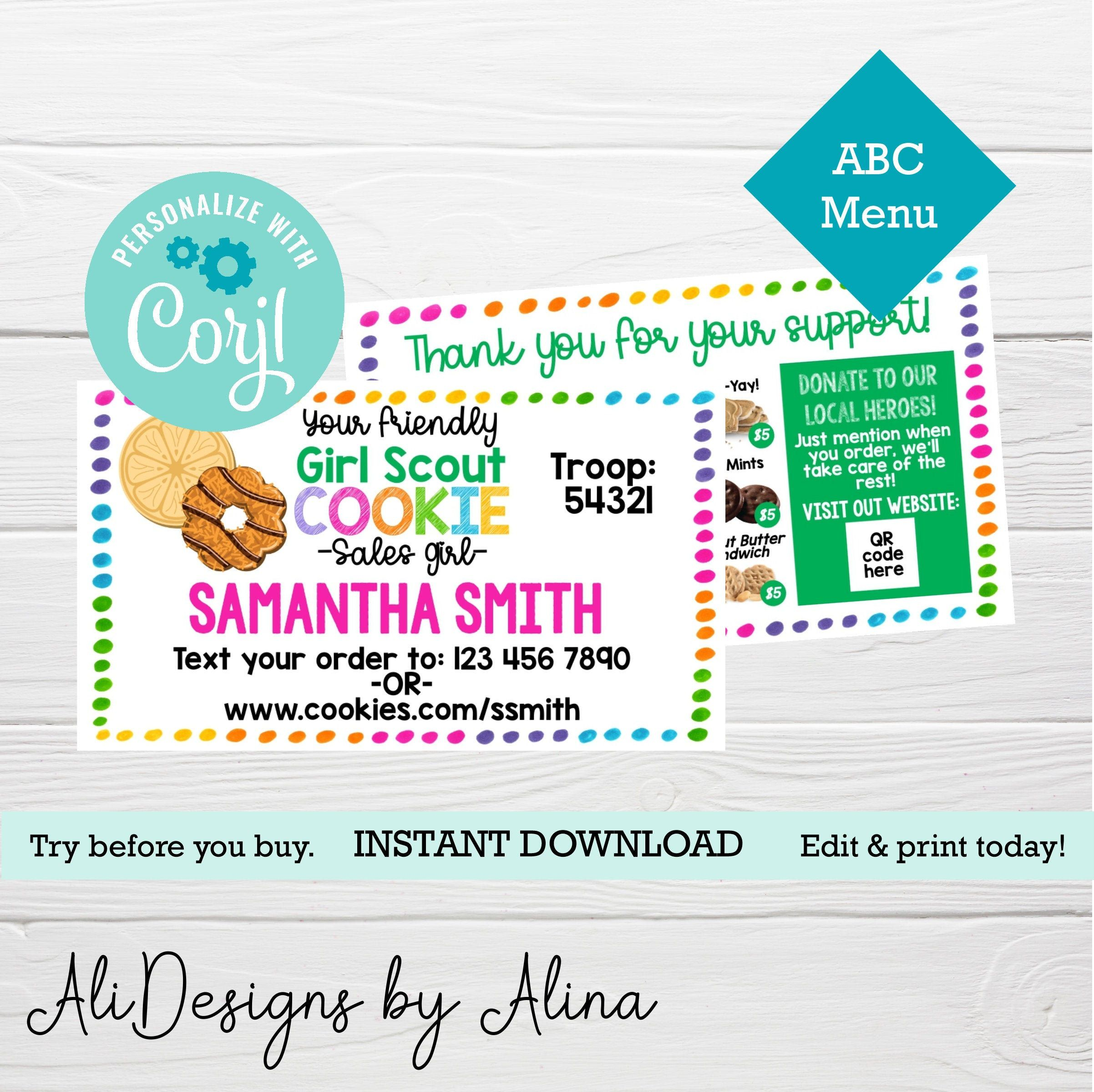 Girl Scout Cookie Sale Printable Business Cards 2021 Abc Etsy In 2021 Thank You Card Template Printable Business Cards Girl Scout Cookies