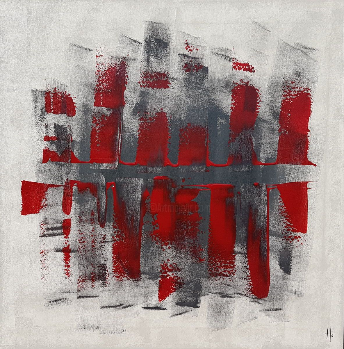 Tableau grand abstrait peinture 80x80 contemporain for Tableau art contemporain