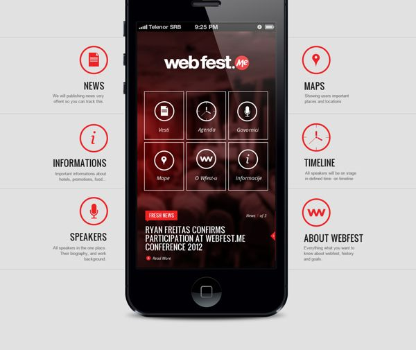 WebFest - iPhone App by Nemanja Ivanovic, via Behance