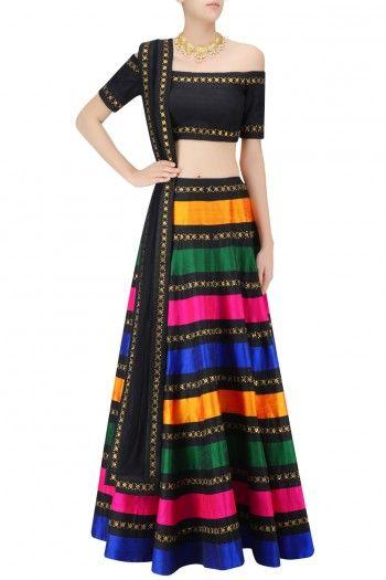 Multicolor Raw Silk Stripes Lehenga Set #Lehenga #Multicolor #Striped #Navratri