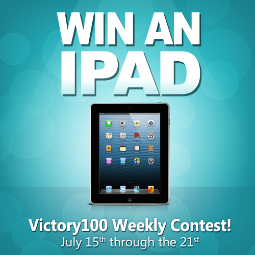 We are kicking off another weekly iPad giveaway contest!  If you are not yet a Victory100 member, NOW is the perfect time to join us! Hurry over to http://victory100.com/ and let's have some FUN!  #victory100 #ipad #ipadgiveaway #makemoneyathome #internetmarketing #networkmarketing