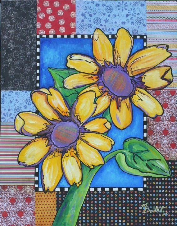 Photo of HUGE Sunflower Painting SALE Folk Art Painting by MelanieDou…