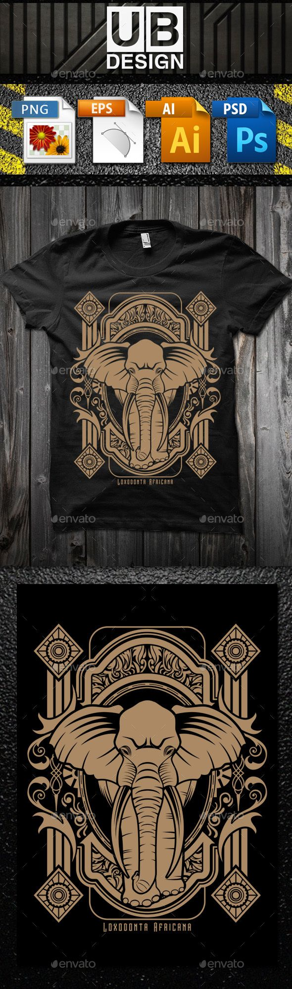 Black t shirt vector ai - Loxodonta Africana T Shirt Vector Illustration Vector Eps Photoshop Psd Transparent Png