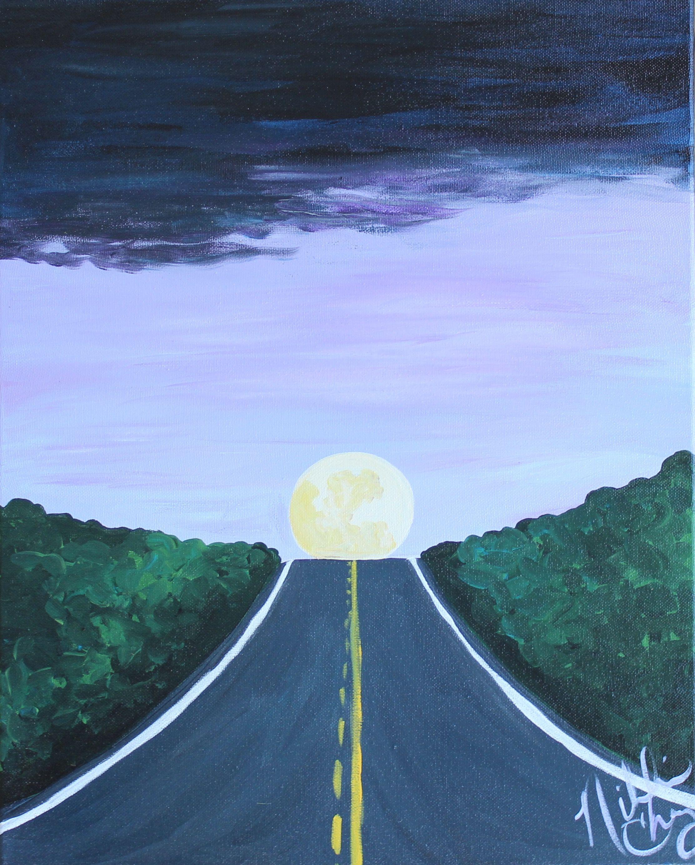"""moon over the blacktop"" by artist nikki cherry / the preppy possum   #moon #moonlight #thepreppypossum #preppypossum #nikkicherry #ncart"