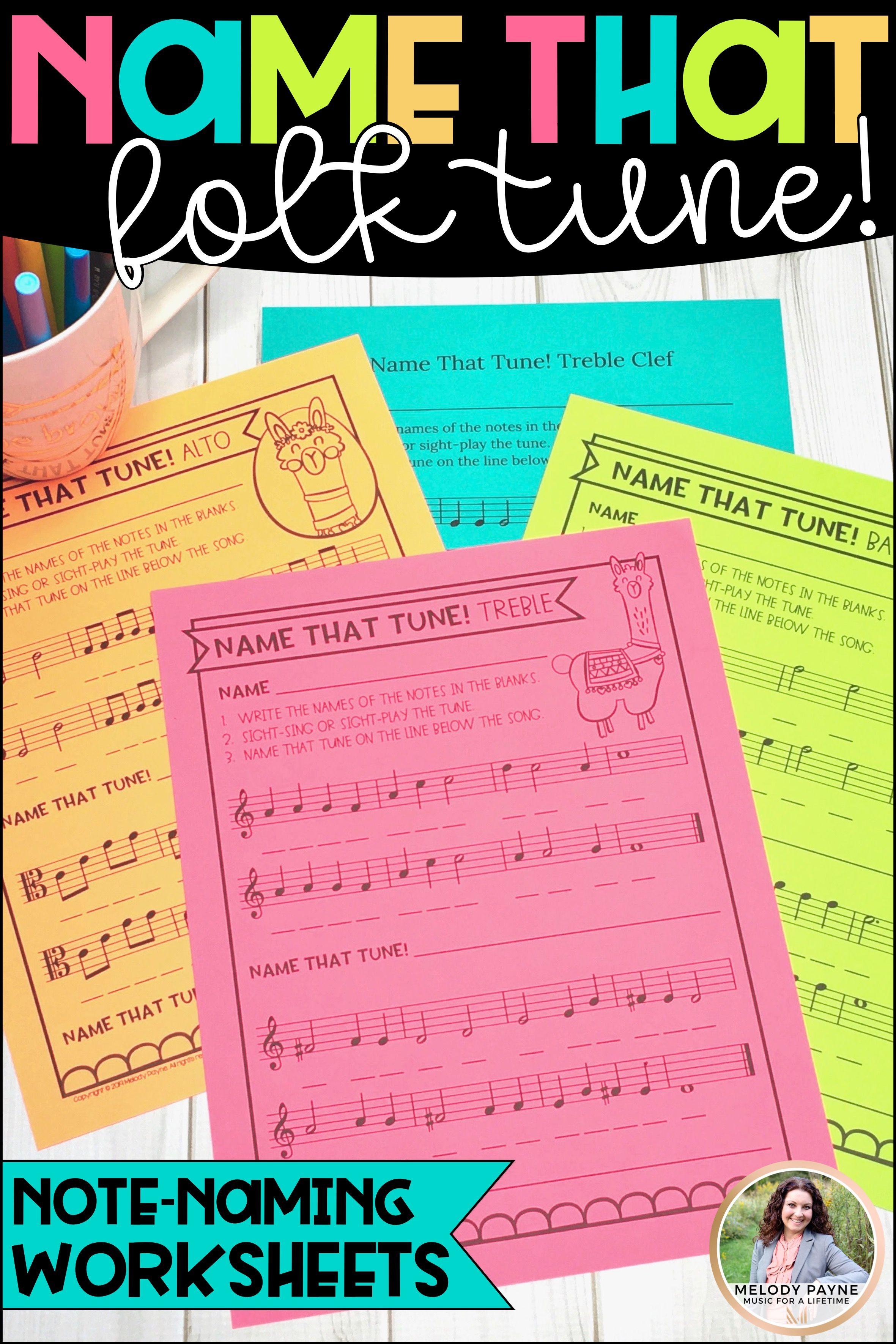 Folk Songs - Name That Tune! {Llama Music Worksheets: Treble