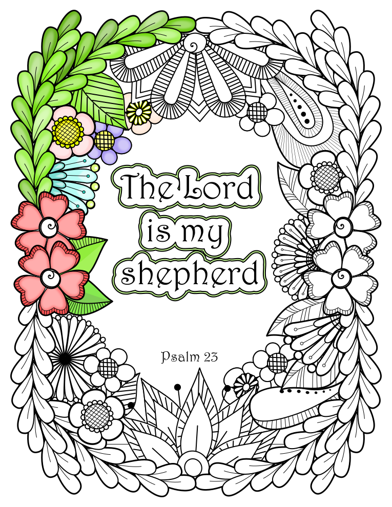 "♥ Psalm 23:1 "" The Lord is my shepherd"" ♥ Bible Verse Coloring Page, Instant Download, Bible Journaling, Scripture Coloring Pages, Bible Study"