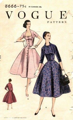Vogue 8666 Vintage Sewing Patterns Vintage Clothes Patterns Vintage Outfits Vintage 1950s Dresses