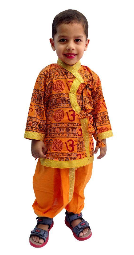 835d522574e28 Indian Om Print Saffron Dhoti Kurta, Boy's Traditional Angrakha Set, Dhoti  suit, kids baby wear, Et