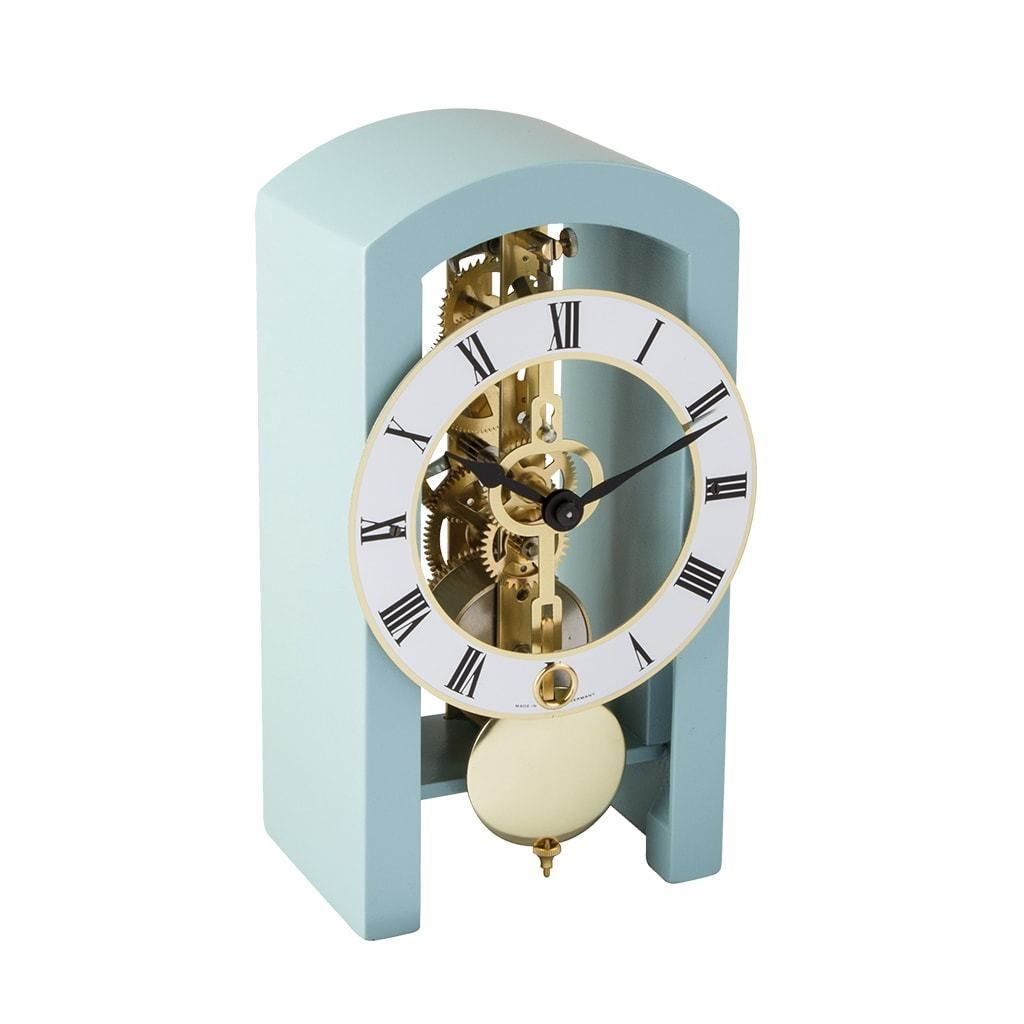 Hermle Patterson Mechanical Table Clock 23015s40721 Light Blue Clock Table Clock Mechanical Clock