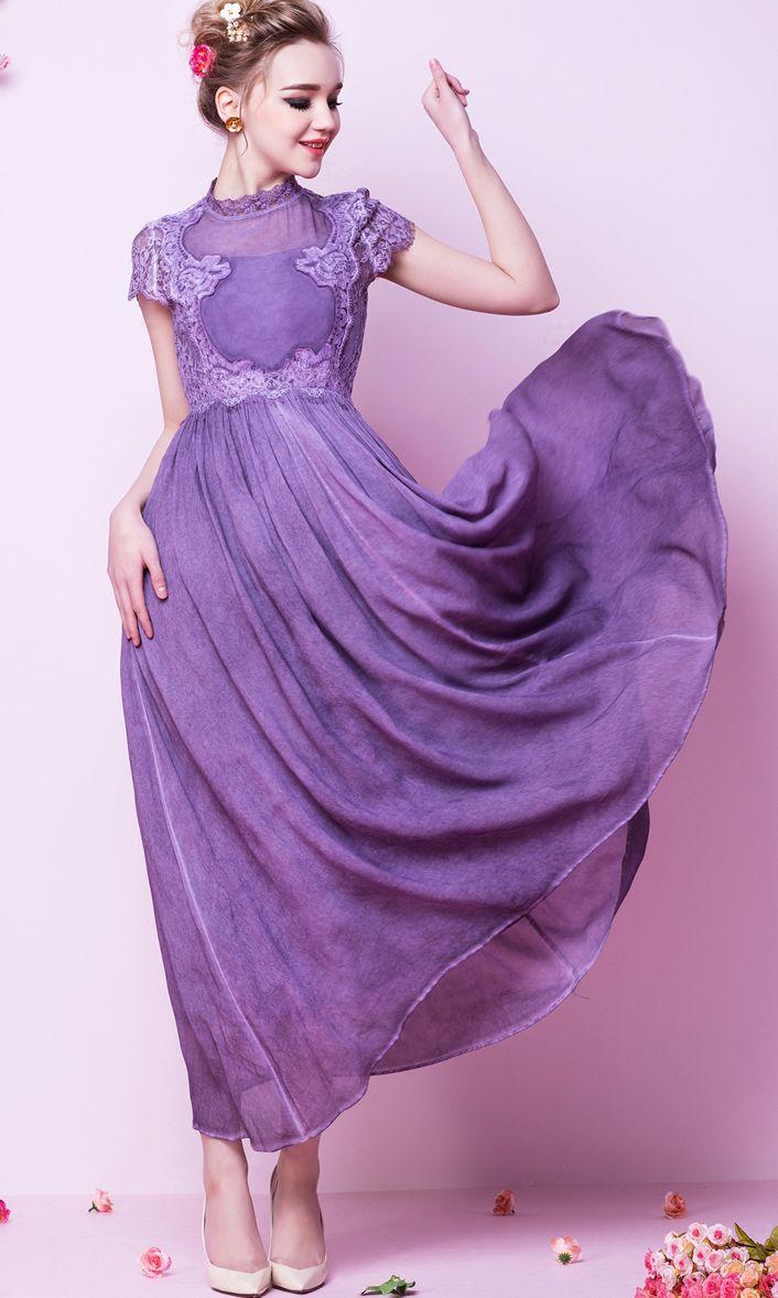 Purple Lilac Lila Short Sleeve Vintage Lace Maxi Dress 28.50 ...