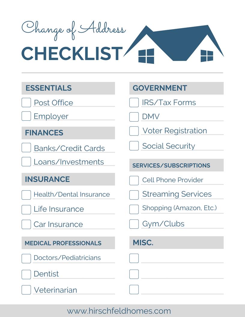 Change Of Address Checklist Change Of Address Change Your
