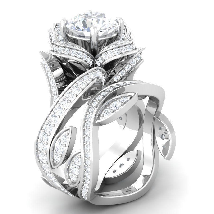 Certified 3ct round unique diamond engagement ring bridal