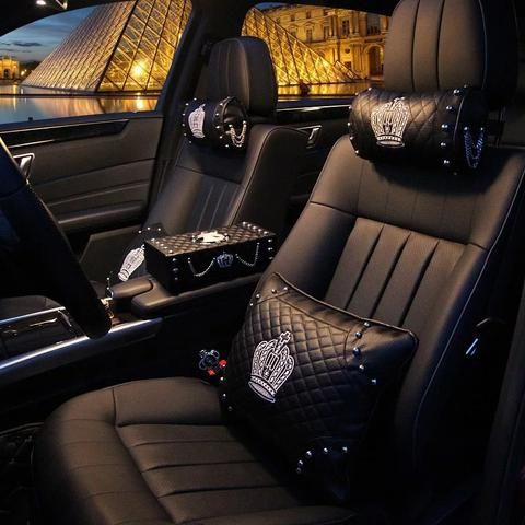 Bling Crown Car Accessories Set Neck Pillow Visor Organizor Tissue