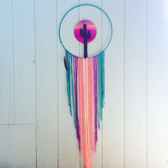 Large boho dreamcatcher cactus decor home decor by SevenSummersOld