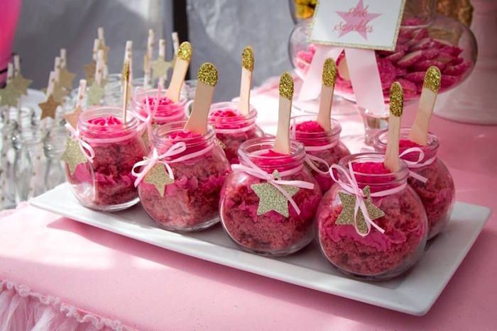 Cakes In A Jar From A Pink Gold Twinkle Star Birthday