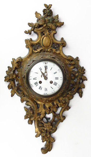 Antique Bronze Wall Mounted Clock Made In France Early 20th Century Porcelain Face
