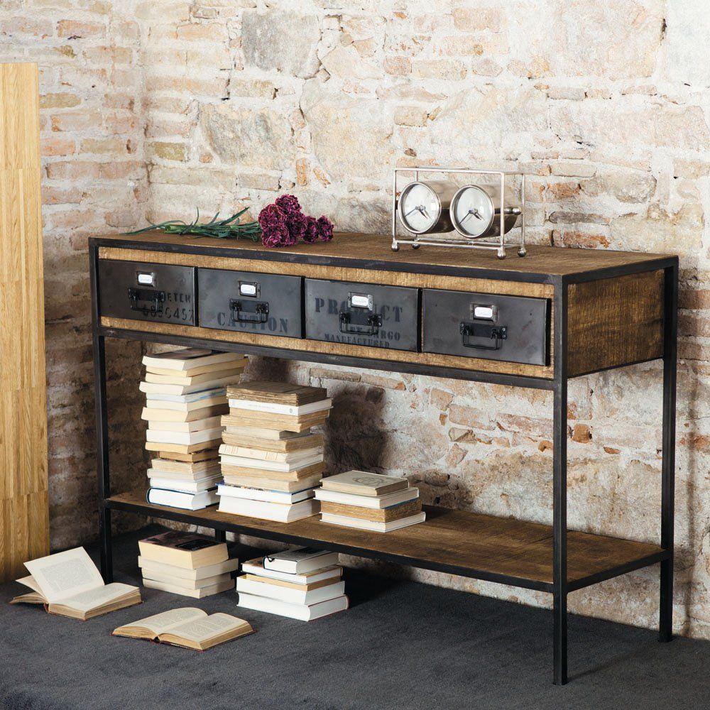 Table console indus en métal et manguier massif noire L 130 cm ...