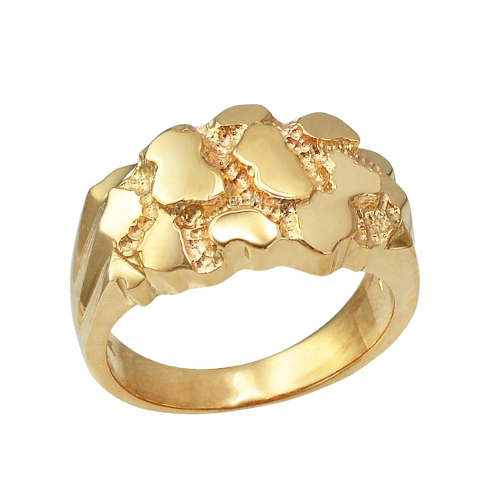 Yellow Gold Mens Nugget Ring Gold Nugget Ring 14k Gold Ring Diamonds Mens Gold