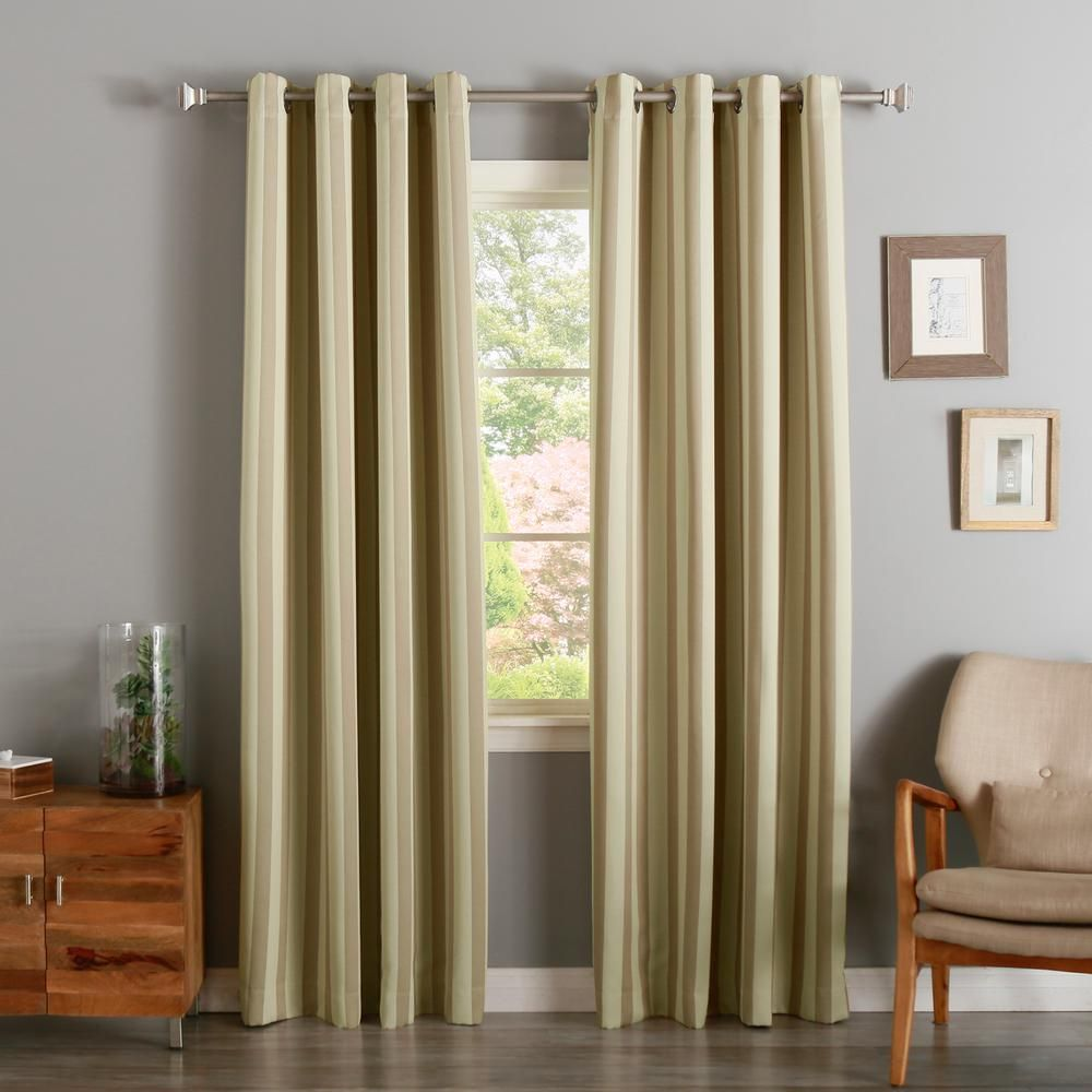 Linen Stripe Vertical Stripe Rod Pocket Back Tab Window Curtain