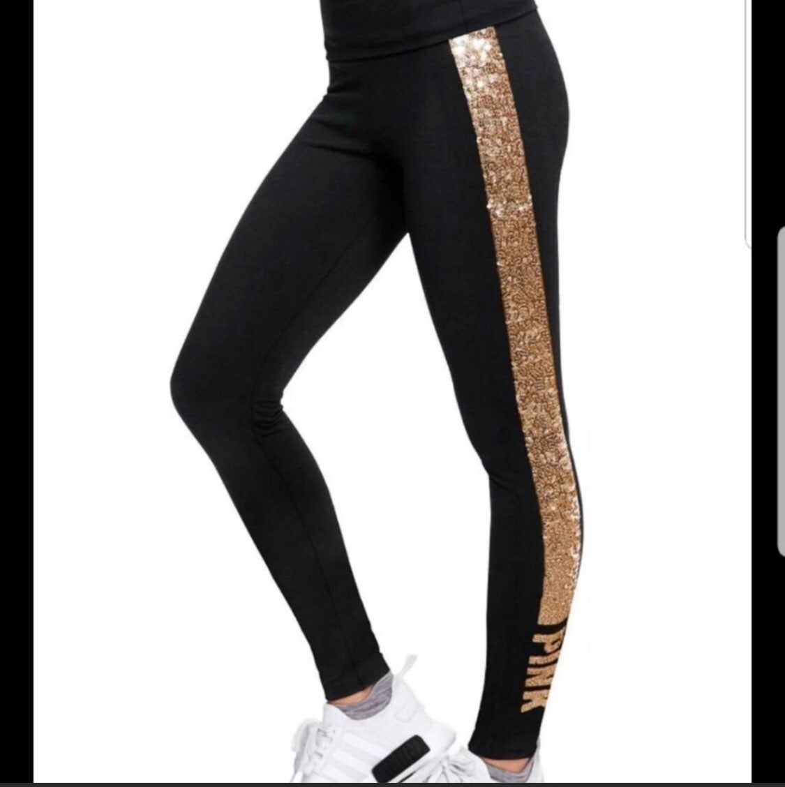 0851b17c28 Victoria's secret PINK bling leggings. The sequins are gold and the leggings  are black.