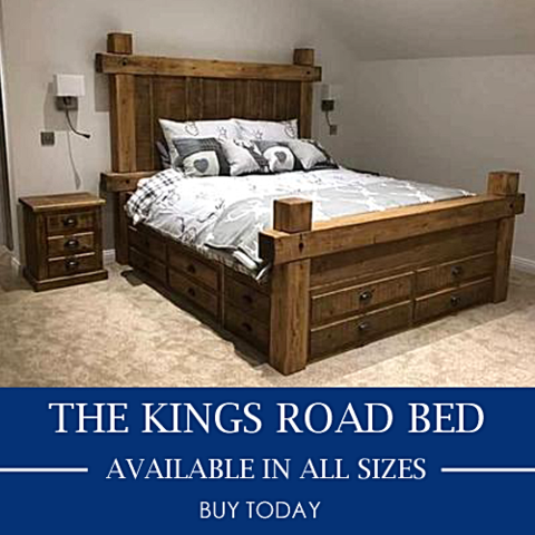 Kings Road Chunky Rustic Bed With Drawers In 2020 Rustic Master