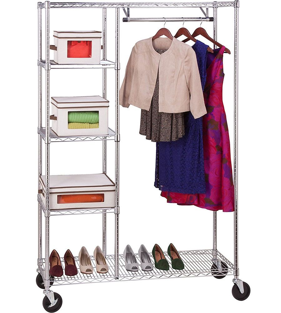 The Rolling Wardrobe Rack Features A Hanging Bar And Three Adjustable  Shelves To Provide Tons Of