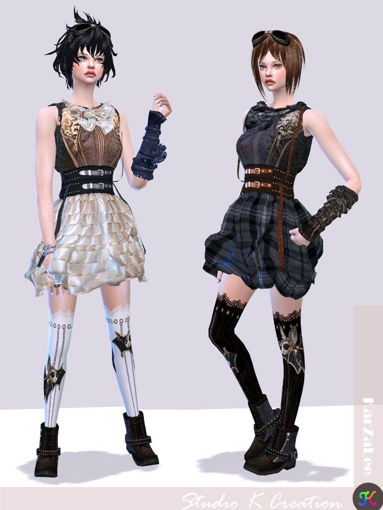 steampunk outfit set 1 sims 4 ccs kurze kleider. Black Bedroom Furniture Sets. Home Design Ideas