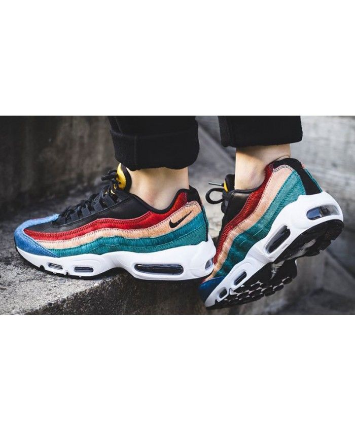 free shipping 991cd 76d1b Nike Air Max 95 Premium Dark Red Yellow Green Shoes looks ...