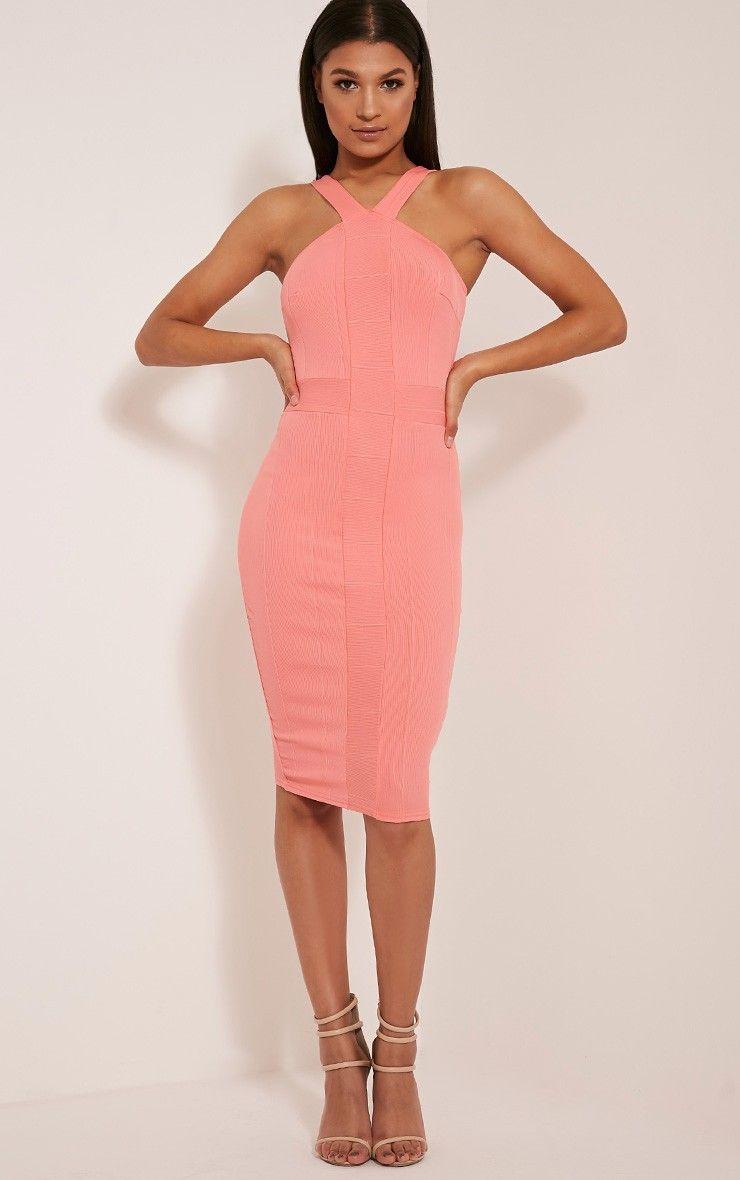 a540c034 Meryl Coral Bandage Strap Detail Bodycon Dress | Dresses | Bodycon ...