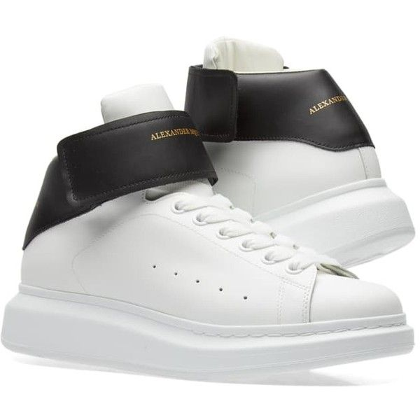 992254683399b Alexander McQueen Wedge Sole Strap High Sneaker (28.285 RUB) ❤ liked on  Polyvore featuring shoes, sneakers, wedge heel sneakers, black white shoes,  ...